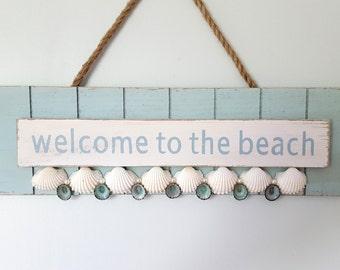 "Beach Decor Welcome Sign, Nautical Decor ""Welcome to the Beach"" Wall Sign, Beach Wall Sign, Nautical Wall Sign, Coastal Beach Welcome Sign"