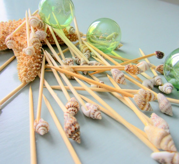 Beach decor seashell toothpicks nautical decor appetizer for Appetizer decoration
