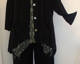 Coco and Juan Lagenlook Plus Size Black Traveler Knit Angled Jacket Top  One Size Bust  to 60 inches