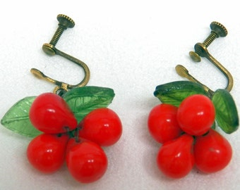 Czech Earrings Glass Cherries and Leaves