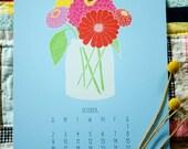2016 Flora Wall Calendar, Floral Calendar, Wall Calendar, Gifts For Her, Gifts Under 25, 2016 Calendar, Large Wall Calendar, desk calendar