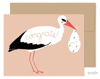 Pregnancy Card, New Baby Card, Congratulations Card, Baby Shower Stork, Congrats, Baby Announcement, Congrats Card, Baby Shower Card