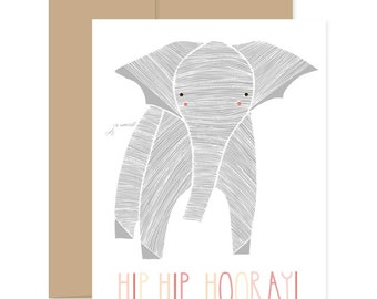 Pregnancy Card, New Baby Card, Congratulations Card, Baby Elephant, Hip Hip Hooray, Baby Announcement, Congrats Card, Baby Shower Card