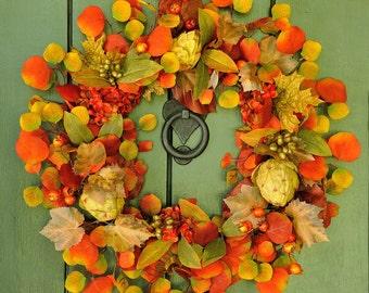 Autumn Harvest - Stunning Hydrangea and Artichoke Wreath, Fall Wreath,Fall Leaves, Fall Decor, Autumn Wreath