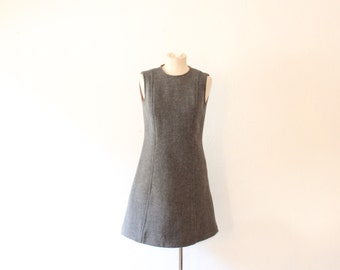 1960s Vintage Gray Wool Sheath Dress / Fully Lined Fall