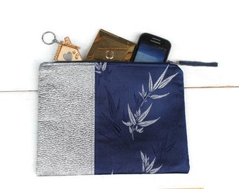 Dupion Silk Zip Clutch, Royal Blue / Metallic Gray Clutch Purse
