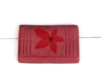 Red Pleated Clutch , Red Leather Flower, OOAK ,Gift For Her
