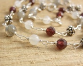 Necklace with Garnets, Moonstones, Labradorite Beads and Bali Beads BN-103