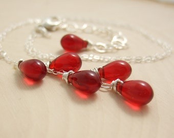 Necklace with a Cascade of Red Glass Teardrops on a Sterling Silver Chain CDN-586