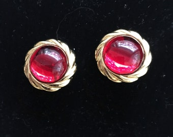 Vintage KJL Kenneth J Lane Valentines Day Red Cabochon Earrings