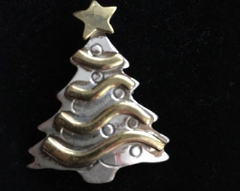 Vintage Sterling Silver & Brass Christmas Tree Pin Pendant