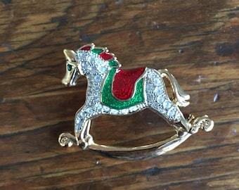 Vintage Christmas Designer Roman rhinestone & Enamel Rocking Horse Pin