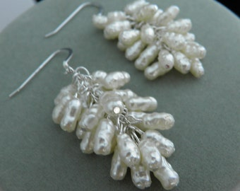 Pearl Cluster Dangle Earrings - READY TO SHIP