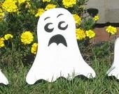 Set of 3 Scary Wood Ghost Handmade  Halloween Outdoor Decoration Yard Spooky Wooden Folk Art