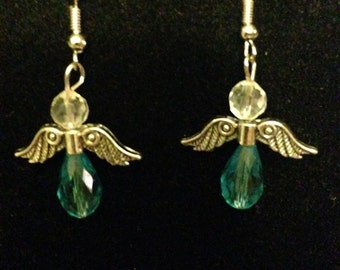 Earrings - Angel - Aqua Crystal with Silver Toned Wings