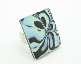large handmade adjustable Polymer Clay Chunky statement ring