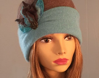 Mary Anne, 100% pure cashmere hat, cloche with hand felted merino wool flower, Aqua/Brown color