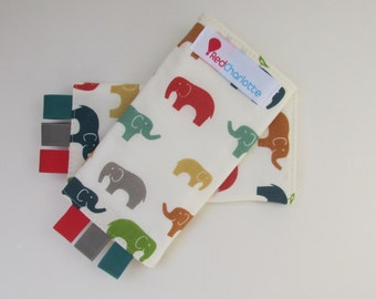 ORGANIC Sucking Pads - Birch Fabrics Elephants in Multi -these fit Ergo, Tula, Mei Tai, Beco, Boba, BabyHawk and more