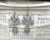catholic earrings religious assemblage medal upcycle rhinestones