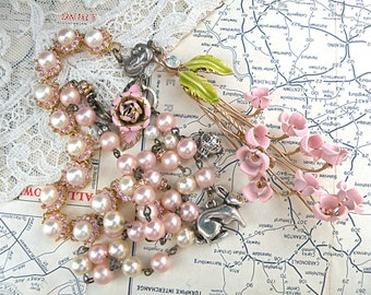 spring assemblage necklace pink lily of the valley bunny recycled vintage jewelry romantic cottage chic mori girl