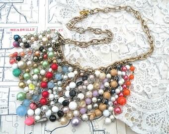 necklace bib fringe hippie boho assemblage gypsy cascade beads