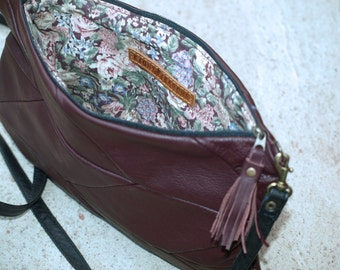 chevron leather messenger bag, Chevron leather Purse, medium leather messenger, dark deep purple,  cristmas gift, black friday