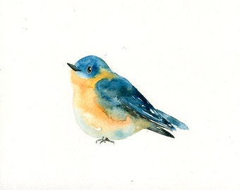 BLUEBIRD Original watercolor painting 10x8inch
