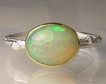 Ethiopian Opal Twig Ring - 18k Gold and Sterling Silver