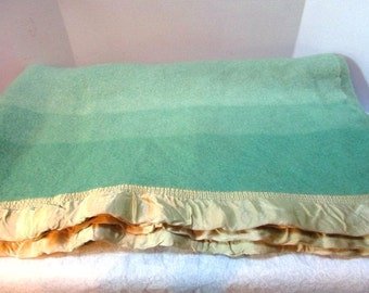 Vintage Striped Wool Blanket, Shades of Green, Soft Satin Edge, Classic Warmth, Fall Wedding, Football Game, Rustic Cabin Camp, Winter