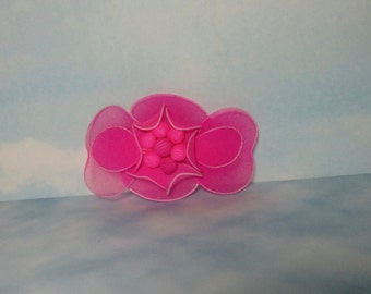 Vintage Neon Pink Nylon Bow  Hair Barrette.