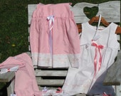Handmade batiste little girls outfit in pink or white with matching bloomers & headband * size 12 months