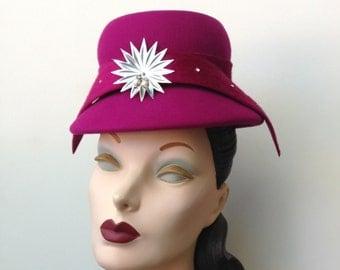 Fuchsia Raspberry Wool Felt Mini Cloche Cocktail Hat