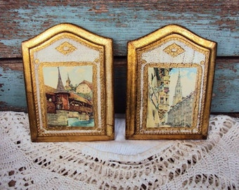 Vintage Italian Florentine  Wood Wall Plaque Set Picture Victorian Regency Picture Gold Gilt Toleware Tole Ware Hollywood Regency