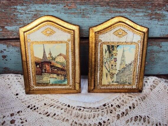 Vintage Italian Florentine Wood Wall Plaque Set Picture