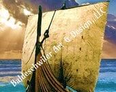 Viking Ship 4C: matted 5 x 7 photographic print