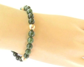 Vintage Green Jade Bracelet  with 14 Karat Gold Clasp and Beads, Fine Jewelry, Upscale Jewelry, Gold Jewelry, Dressy Casual Bracelet
