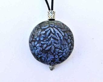 Iridescent Blue Floral Medallion Urn