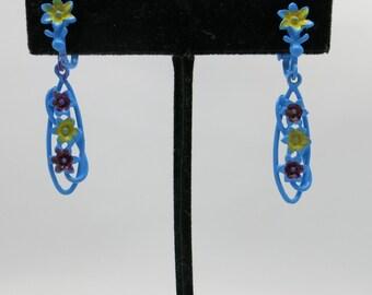 Blue enamel earrings Floral NOS sixties Dangle