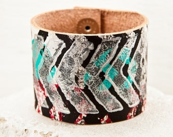 Tribal Native Geometric - Cuffs Bracelets - Turquoise Accessories - Edgy Jewelry - Rustic Primitive Armbands - Etsy Fashion