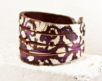 Unique Jewelry Cuff Bracelet  - Painted Leather Jewelry - Festival Fashion Bracelets Cuffs Wrist Band - Gift Ideas
