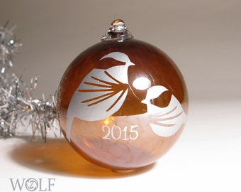 Blown Glass Christmas Ornament Amber Brown and Silver Chickadees