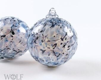 Blown Glass Christmas Ornament Ball Suncatcher Denim Blue Granite