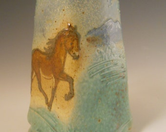 Small Squared Vase Icelandic Horse in Mountain Landscape