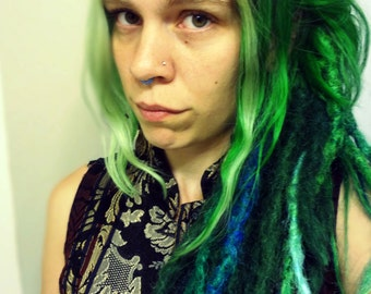 3 Emerald Green Synthetic Dreadlock Extensions. Knotty Dreadlocks. Dark Green synthetic dreads. Natural looking dreadlocks. Made to Order.
