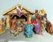 Ceramic Nativity Creche Scene Hand Chalked