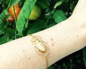 Gold Scarab Beetle Bracelet