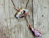 Geode and amethyst lariat necklace with long copper chain. Boho style, festival jewelry