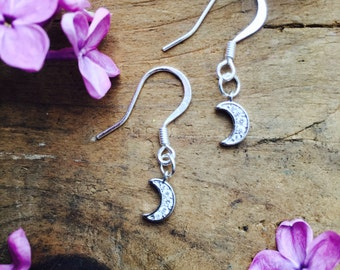 Moon Earrings/ Lunar Phase Jewelry/ Crystal Crescent Charm/ Astrology/ Nickle Free Ear Wires/ Sensitive Ears
