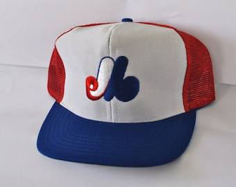 Montreal Expos Vintage Cap Hat Snapback Design Trucker Mlb Vintage Baseball 80s Royal Blue Red White Canada