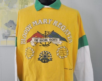 Bloody Mary Regatta Jersey Rugby Style Sweatshirt yachts Soccer Yellow Green LARGE